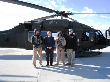 Congressman Lamborn with a Blackhawk Helicopter crew from the Colorado Army National Guard Unit based at Buckley AFB.