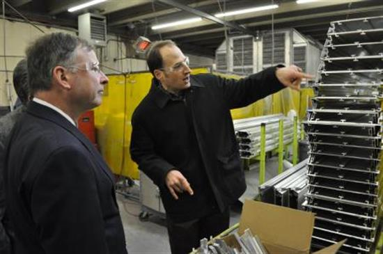 Congressman Doug Lamborn tours Skyline Products, a Colorado Springs sign manufacturer.